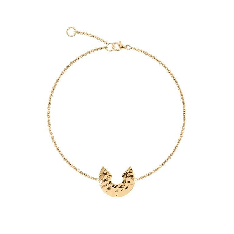Gold-plated hammered half-moon chain bracelet