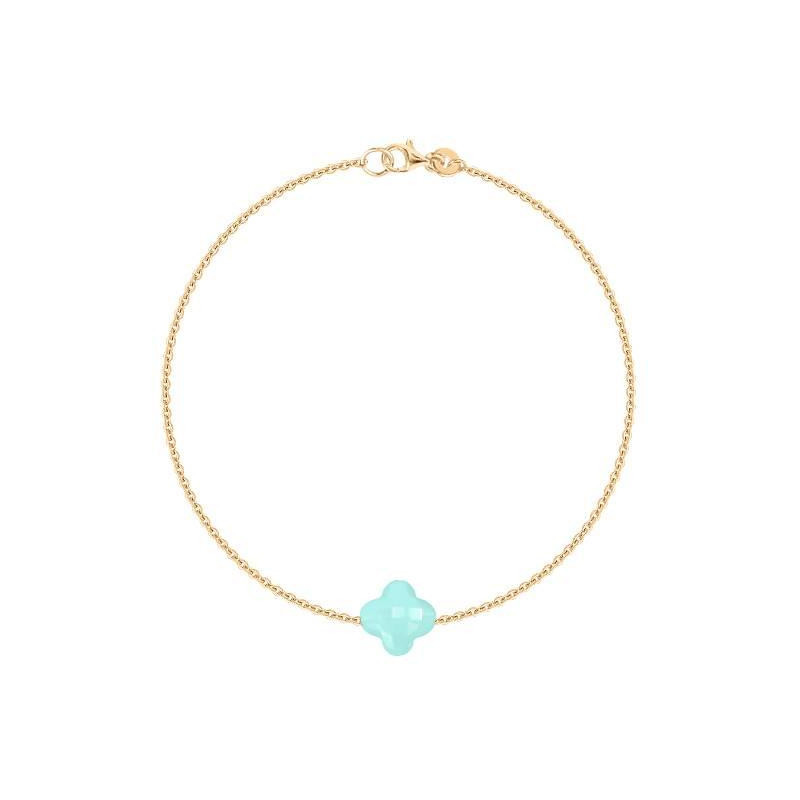 Gold-plated chain bracelet with agate clover