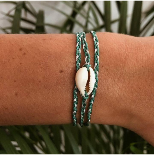 Turquoise green braided tie bracelet & shell