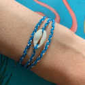 925 Silver turquoise green braided tie bracelet & shell