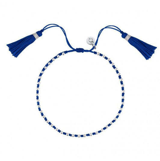 Electric blue tie bracelet with beads and pompom