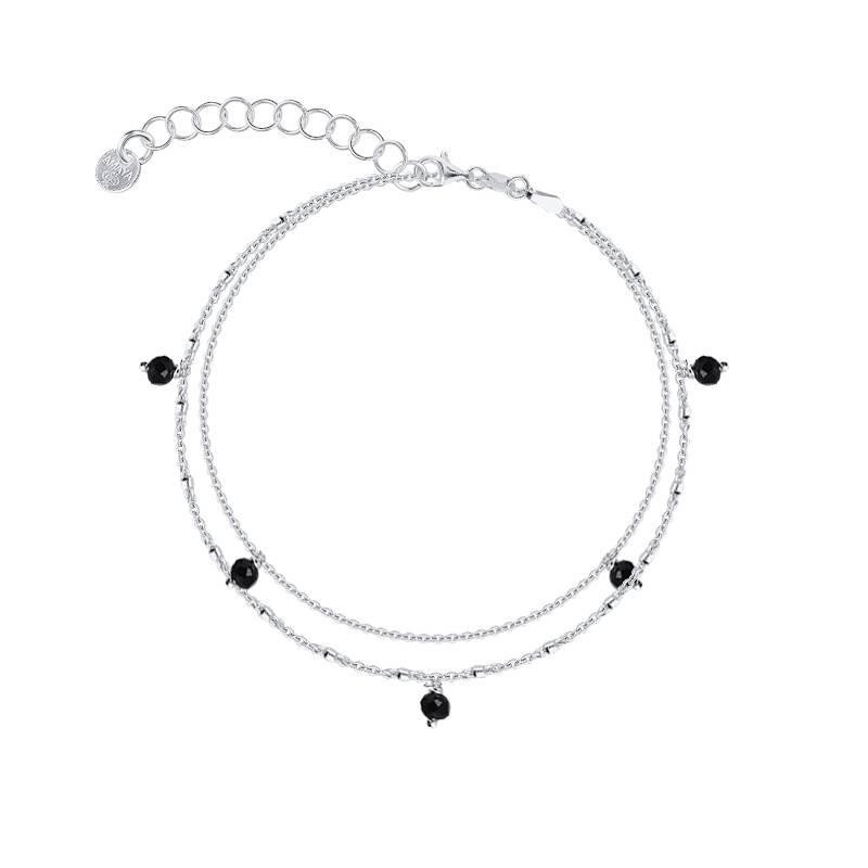 925 silver double row bracelet with black beads