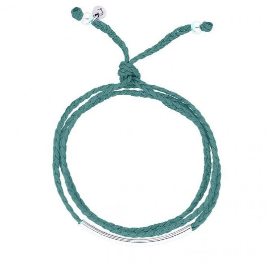 Turquoise green braided tie bracelet with silver tube