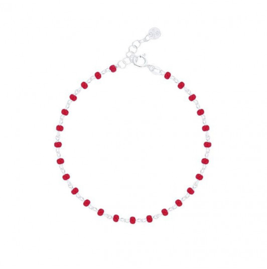 Chain bracelet with red beads
