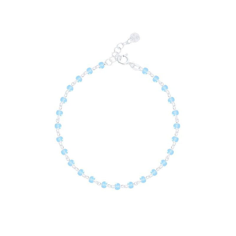 Light blue chain bracelet with beads