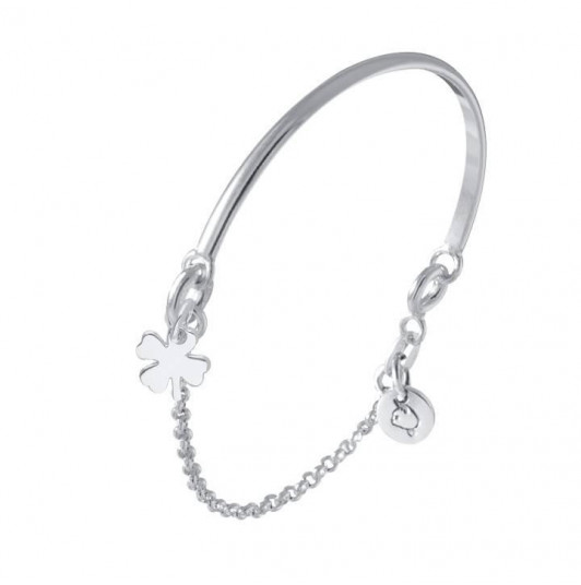 Half bangle & chain clover bracelet