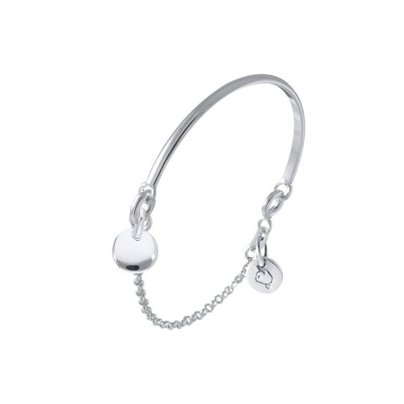 Silver half bangle chain bracelet with mini curved medal for children