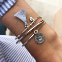 925 Silver half bangle and chain bracelet with Solar medal