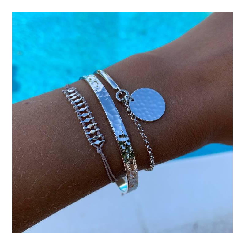 925 Silver half bangle and chain bracelet with hammered medal