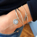 Half bangle and chain bracelet with pompom