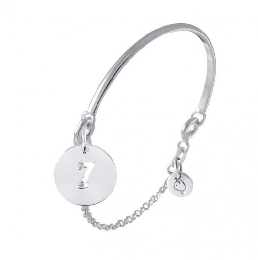 Half bangle and chain bracelet with perforated number