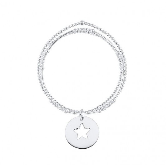 Triple row and perforated star medal bracelet