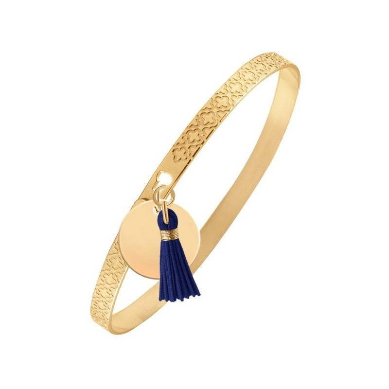 Clover lock bangle with pompom and medal