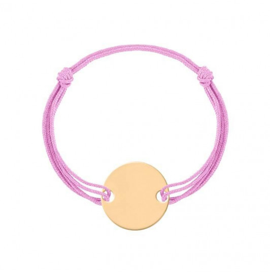 Double tie bracelet with gold-plated medal