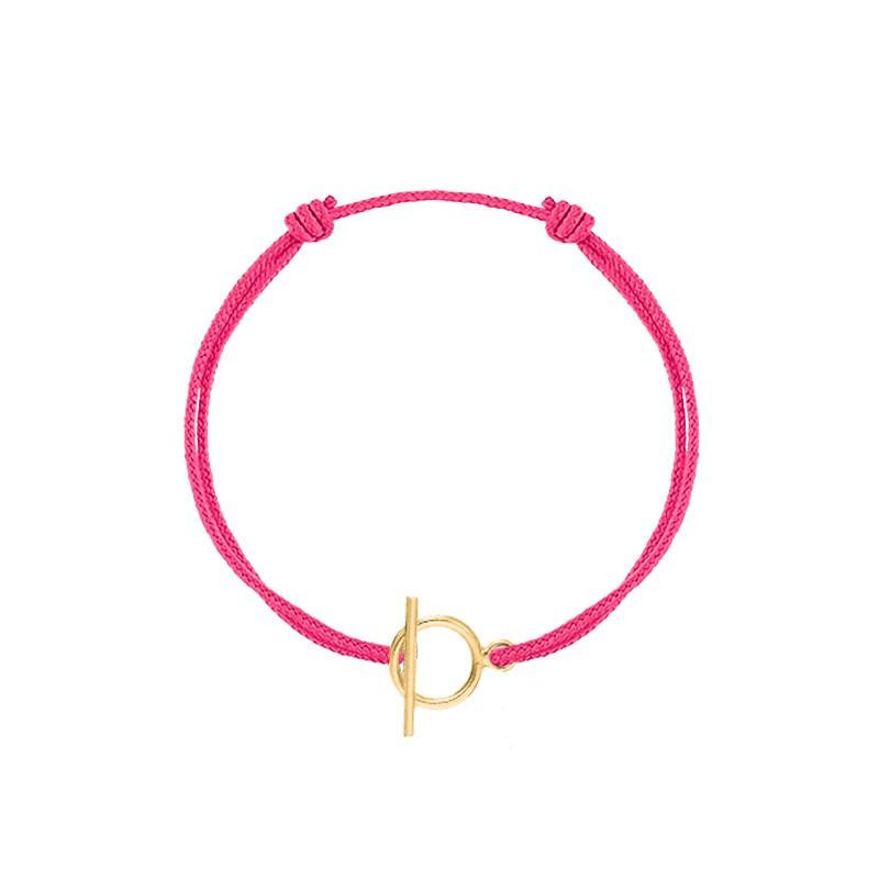 Tie bracelet with small T toggle