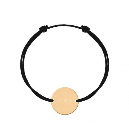 Tie bracelet with small flat medal for men