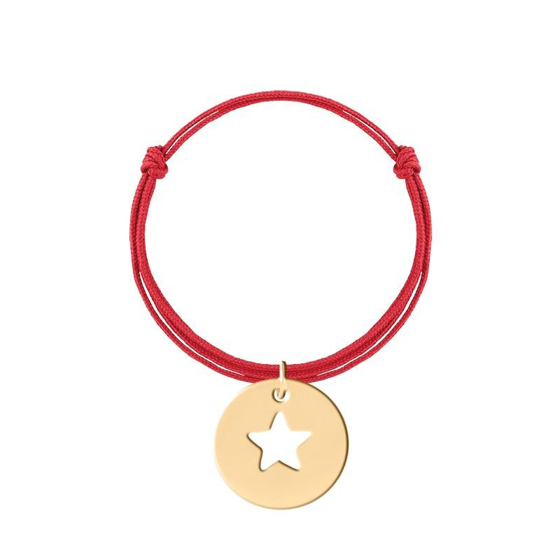 Tie bracelet with large perforated star medal charm