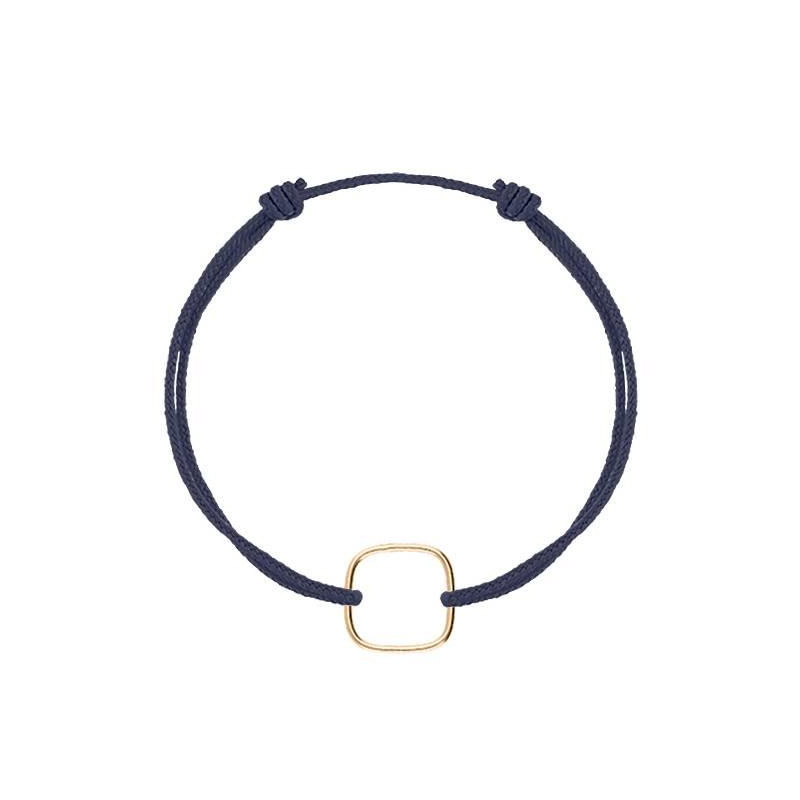 Gold-plated tie bracelet with hollowed square