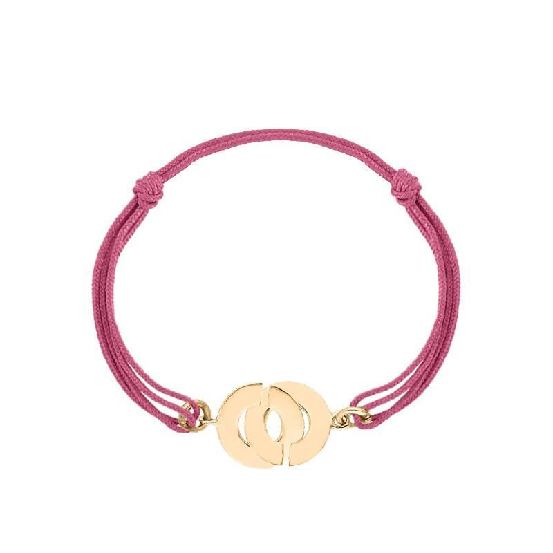 Tie gold-plated bracelet with handcuffs