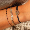 Gold-plated chain bracelet with black beads