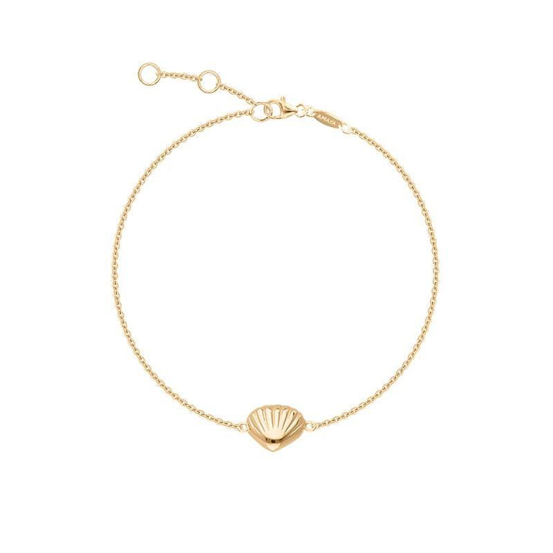 Gold-plated shell & pearl chain bracelet