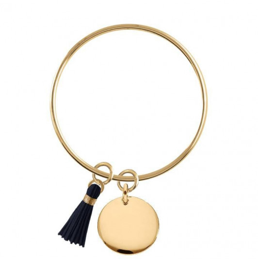 Bangle bracelet with curved medal and pompom