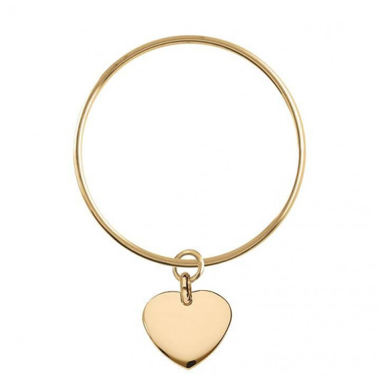 Bangle bracelet with curved heart medal