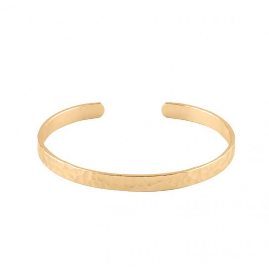 Hammered open bangle bracelet