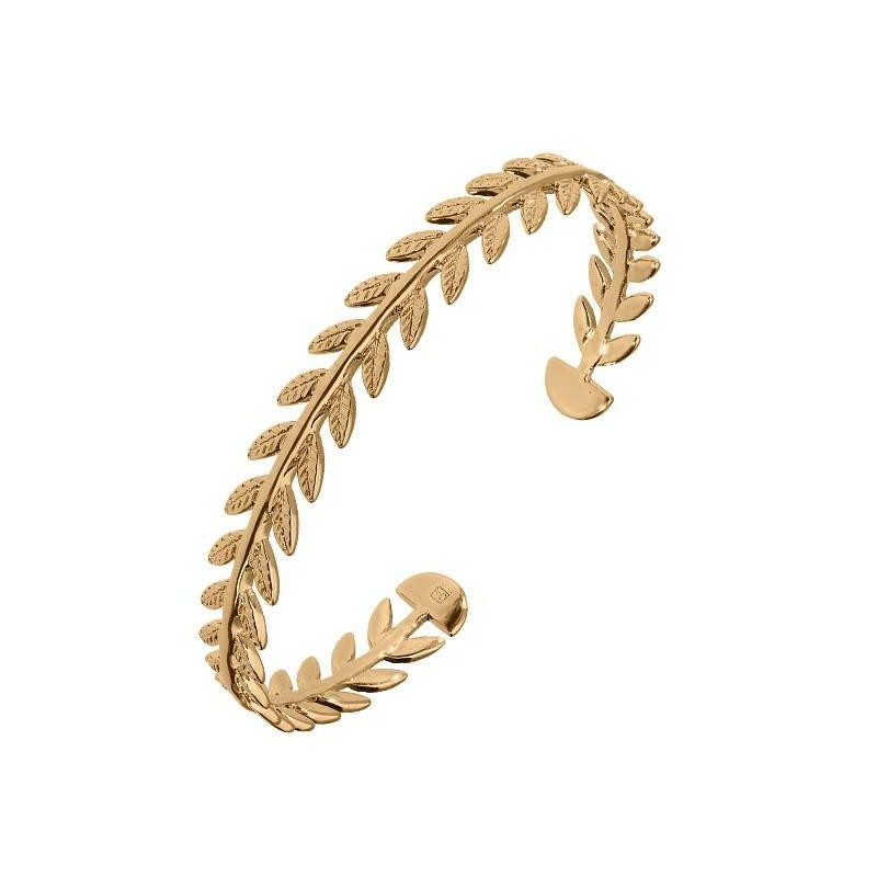 Gold-plated laurel open bangle