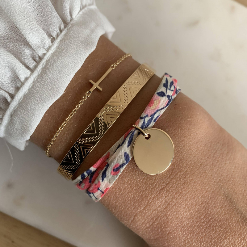 Liberty bracelet with gold-plated medal