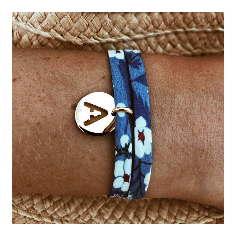 Liberty bracelet with gold-plated perforated initial