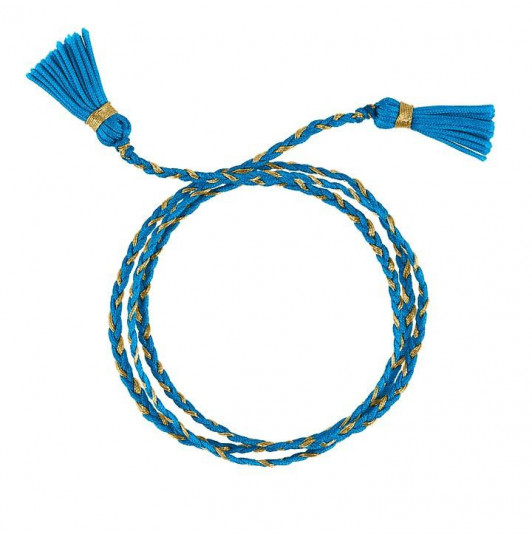 Turquoise blue triple braided tie bracelet with pompoms