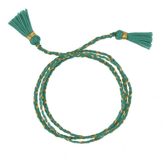 Turquoise green triple braided tie bracelet with pompoms