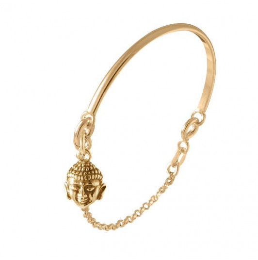 Half bangle and chain bracelet with buddha