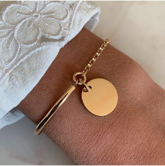Half bangle and chain bracelet with medal