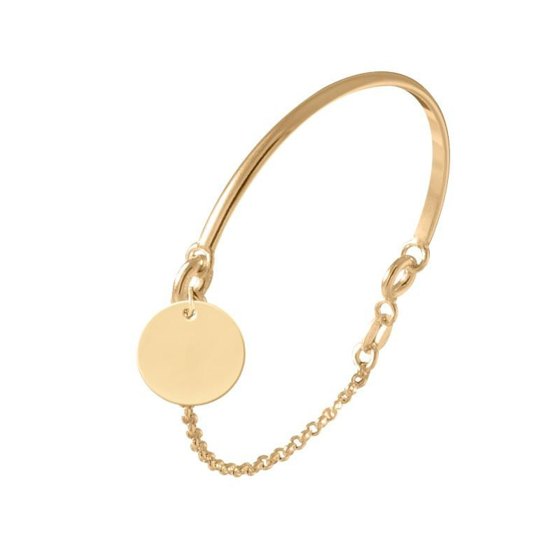 Gold-plated half bangle and chain bracelet with medal for children