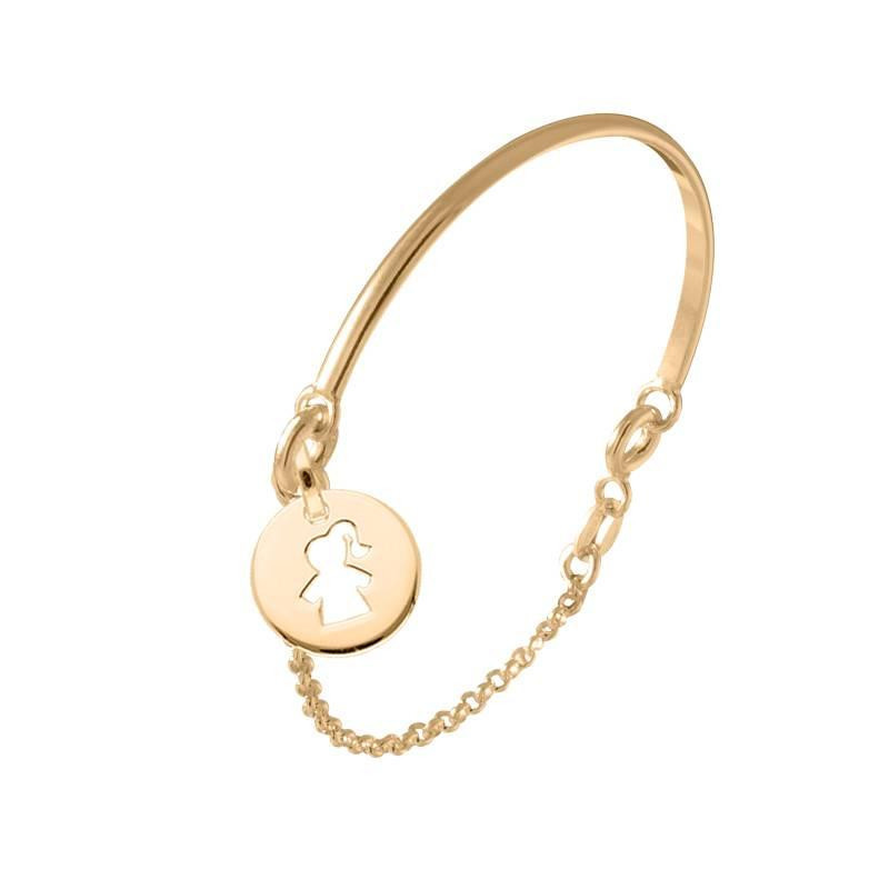 Half bangle and chain bracelet with girl perforated medal