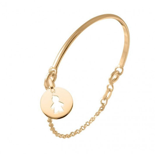 Half bangle and chain bracelet with boy silhouette