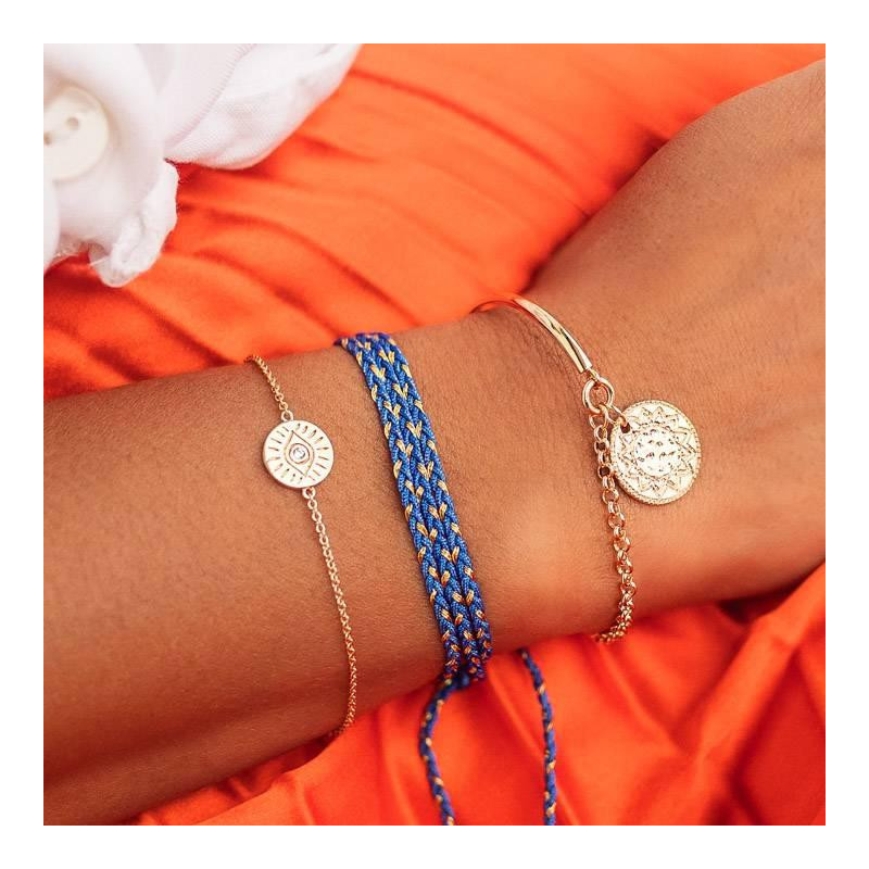 Gold-plated half bangle and chain bracelet with Gaïa medal