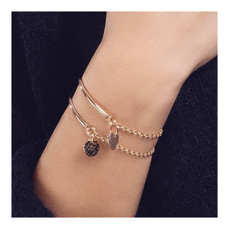 Half bangle and chain bracelet with small hammered medal