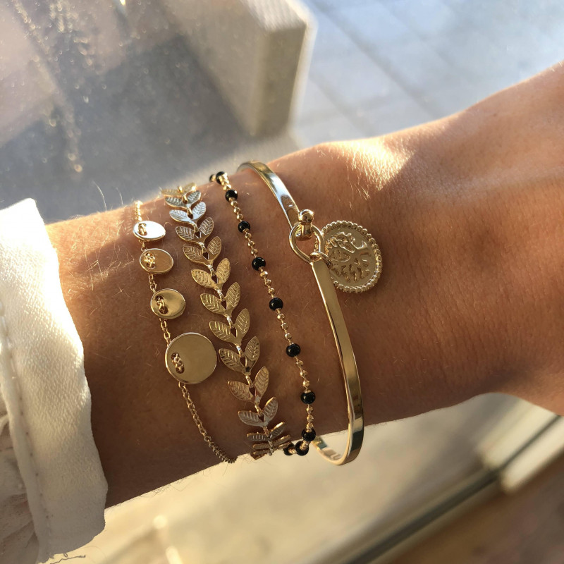 Gold-plated tree medal tie bangle