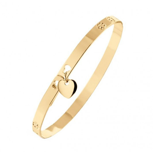 Lock bangle with mini heart medal