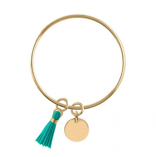 Bangle bracelet with medal and pompon