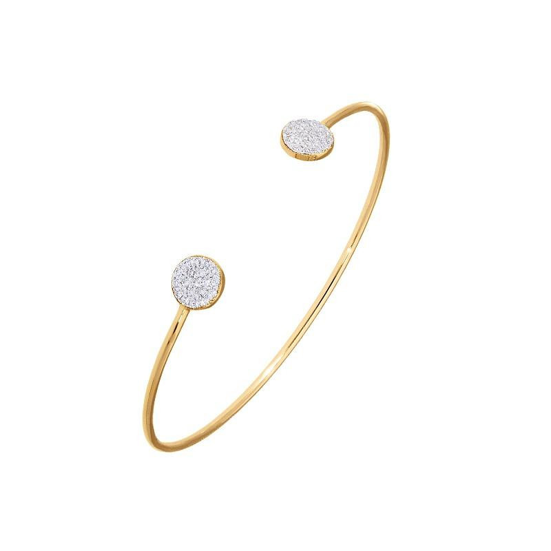 Open bangle with two zircons circles