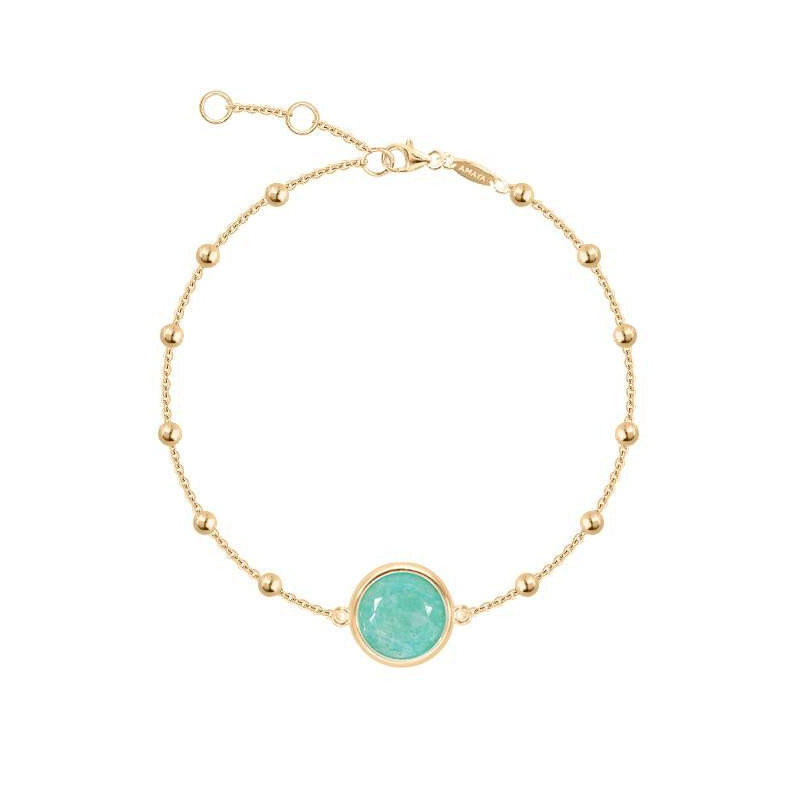 Gold-plated beaded chain bracelet with amazonite medal