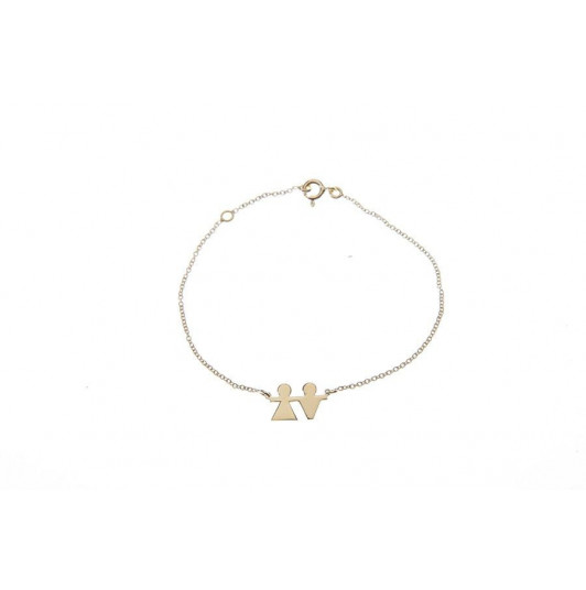 Chain bracelet with gold-plated silhouette