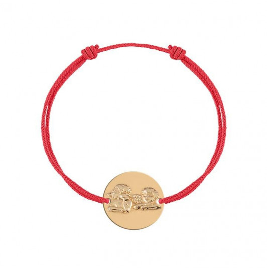 Gold-Plated tie bracelet with angel medal