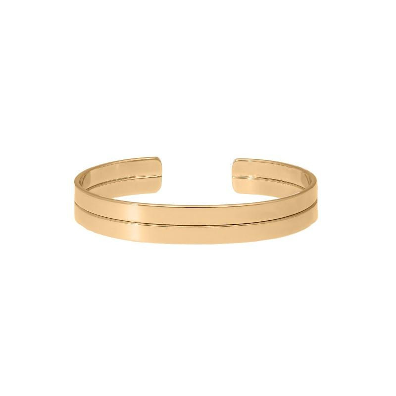 Smooth open cuff bracelet with line