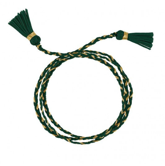 Bracelet triple cordon tressé pompon vert jungle