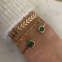 Gold-plated open pine green gemstone bangle